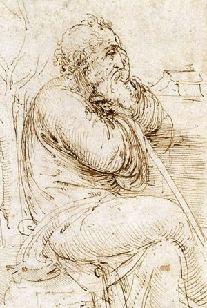 ROC409852 A seated old man, and studies and notes on the movement of water, c.1510 (pen & ink on paper) by Vinci, Leonardo da (1452-1519); 15.4x21.7 cm; The Royal Collection © 2011 Her Majesty Queen Elizabeth II; (add.info.: in the text Leonardo compares the movement of water to plaited hair; probably acquired by Charles II; in Royal Collection by 1690;); REPRODUCTION PERMISSION REQUIRED; Italian,  out of copyright  PLEASE NOTE: The Bridgeman Art Library works with the owner of this image to clear permission. If you wish to reproduce this image, please inform us so we can clear permission for you.